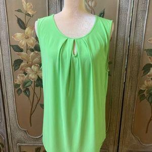 TAHARI green sleeveless top Size XL